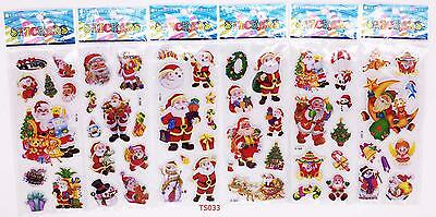 6pcs Kids Favor Figures Gift ! Cartoon Santa Claus Stickers Lot Kids X'Mas Gift