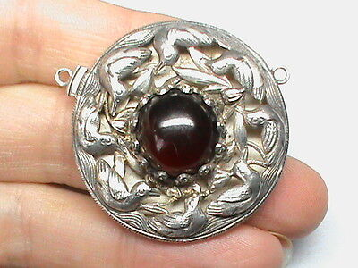 Antique Chinese Sterling Silver Large Pendant Clasp for Necklace Garnet Paste?