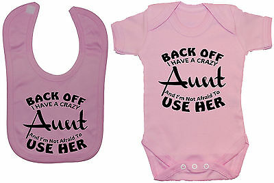 Crazy Aunt Baby Grow/Bodysuit/Romper/T-Shirt & Feeding Bib 0-24m Girl Boy Funny