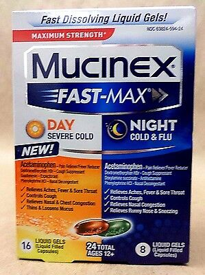 Mucinex Day Severe Cold Night Cold and Flu 24 TOTAL Liquid Gels Exp 11/17 SEALED