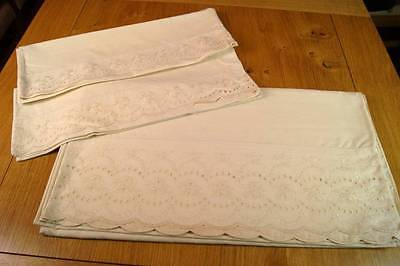 Vintage Cream Embroidered Poly/cotton Sheet & Pair Pillowcases #s5