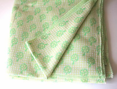 """3 Yards Vintage Polyester Knit Fabric 61"""" w x 108"""" L Material Lime Green Trees"""