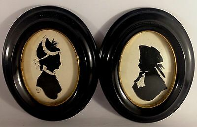 Two antique silouette Victorian Lady & Gentleman, drawings signed by Ray