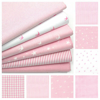Chambray Cotton Fabric - Pale Pink - Swallows Birds Stars Stripes Gingham