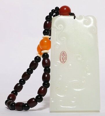 Special Fine Old Chinese Natural Hand Carving Nephrite Jade Pendant YU42