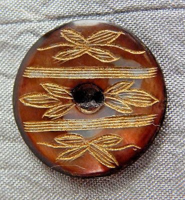Antique Vintage Button Mother of Pearl Incised w/ Gold Luster #1016-A
