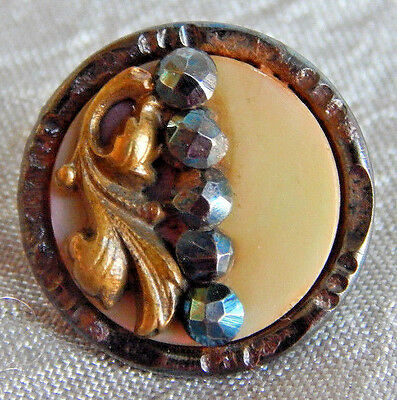 Antique Vintage Picture Button Cut Steel & Mother of Pearl #903-A