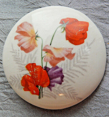 Antique Vintage Picture Button Ceramic with Painted Poppys  #1022-A
