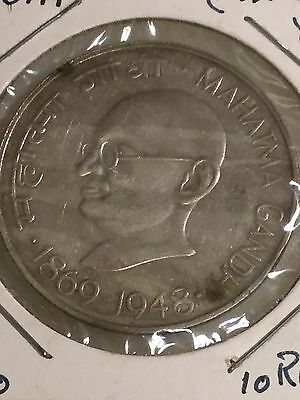 India, 10 Rupees, 1969  Gandhi, .3858 Ounce Silver