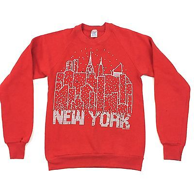 Vtg New York Sweatshirt Red S XS