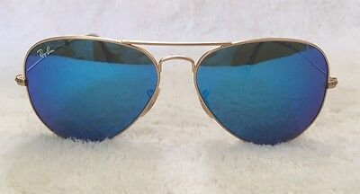 New Women's Ray-Ban Sunglasses With Gold Frame And Blue Lenses