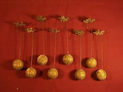 Lot 8 Christmas Antique Clay Ball Weighted Pendulum Candle Holder Christmas Tree