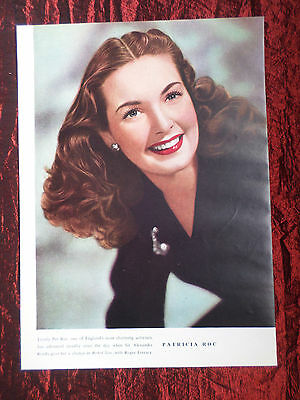"""Patricia Roc - Film Star - 1 Page Picture -"""" Clipping / Cutting""""  - #2"""
