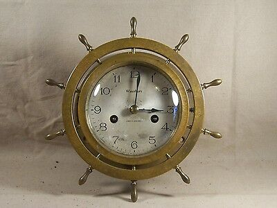 Waterbury Ships Clock, Ships Wheel Heavy Brass