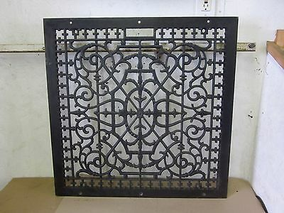 "Antique Large Victorian Floor Cold Air 24 "" x 24 "" Cast Iron Register Heat Grate"