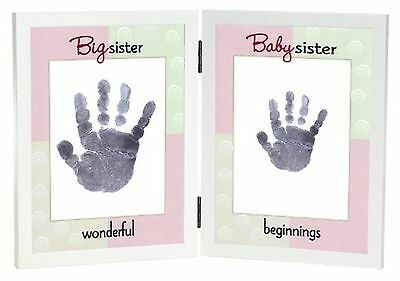 The Grandparent Gift Co. Sweet Somethings Handprint Frame, Big Sister/Baby Si...