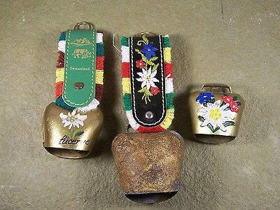 Vintage Swiss Cow Goat Bell 2 with Cloth Strap Lot of 3 Bells
