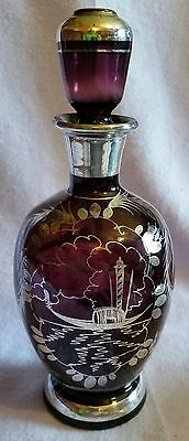 Antique Amethyst Venitian Glass Decanter Sterling Silver Overlay With Gondola