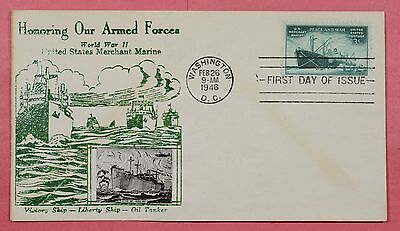1945 #939 Merchant Marine Wwii Armed Forces 3C Fdc Crosby Cachet Cover