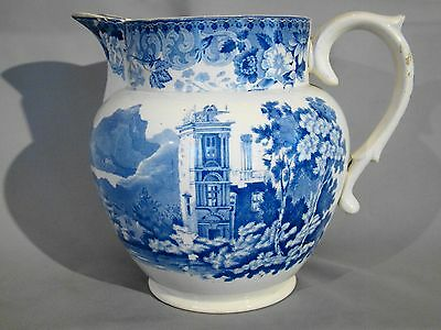 Antique Staffordshire English Tower Landscape Blue Transfer Pearlware Pitcher
