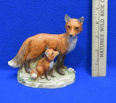 Fox Figurine Mother & Pup Kit Foxes Homco Porcelain Vintage Family 4 3/4""