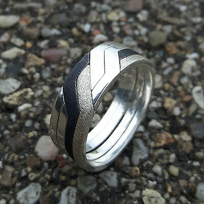 Puzzle Ring - 4 Bands Silver Sterling 925 - Woman - Man - Cool Gift