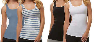 NEW Ladies' Felina Fine Ribbed Knit Tank Tops (2-PACK)  - VARIOUS COLORS & SIZES