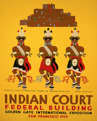 Poster Indian Painting Pueblo Turtle Dancers New Mexico Vintage Repro Free S/h