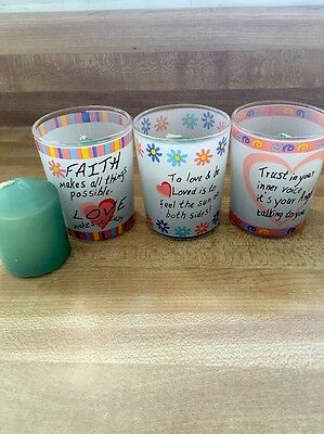 Set Of 3 Glass Faith Votive Candle Holders/3 new candles & 1 Extra Green Candle
