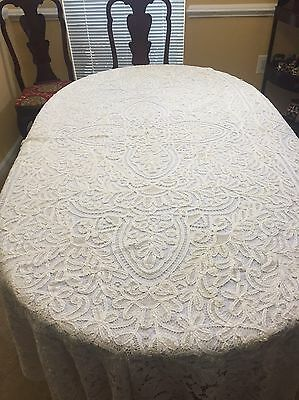 Antique European Ivory Lace Tablecloth
