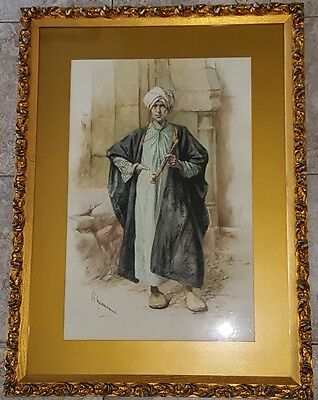 Middle Eastern Man & Pipe Figure Study Watercolor Painting Vittorio Guaccimanni