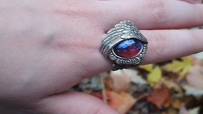 Angel Wing Ring with Dragon's Breath Fire Opal Stunning Victorian SALE Spring
