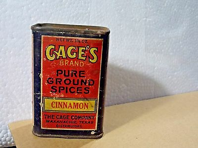 Vintage Antique Collectible Advertising Spice Tin Htf-Cage's-Waxahachie, Texas