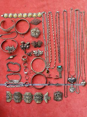 LOT STERLING SILVER 925 JEWELRY WEAR Rings Necklaces Bracelets Brooches