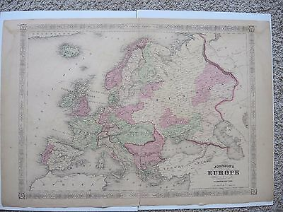Original 1864 A.J. Johnson's 2 Page Atlas Map of Europe With Good Colors