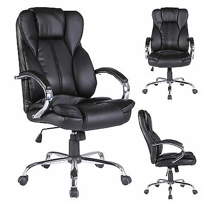 High Back Office Chair Executive Swivel Computer Desk Chair PU Leather Black BN