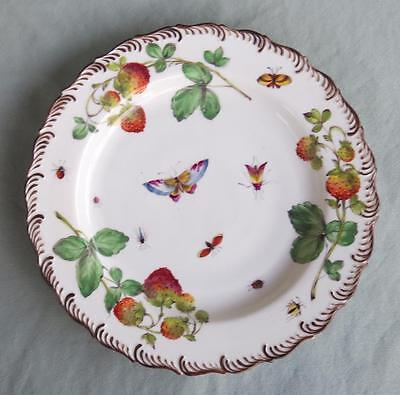 Fine Antique French Porcelain Plate Hnd Painted Insects Strawberries Butterflies