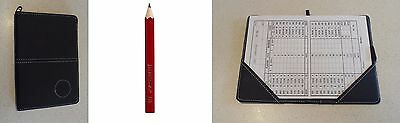 1 only GOLF DELUXE SCORECARD HOLDER BLK (SYN)  LEATHER BLK -  With Pencil