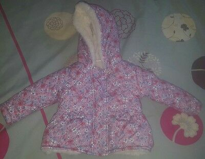Baby Girl F&f Coat Fleece Lined Not Next Zara Etc 6-9 Months