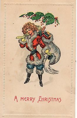 Early 1900's - Girl In Santa Suit - Christmas Postcard - Selling Lot Of Cards