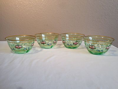 Set of 4 Victorian Enameled Green Glass Finger Bowls Charleton Style Decorated