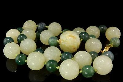 Vintage Chinese Carved Green Hardstone Shou Beads Necklace