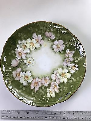 "Vintage Hand Painted Reticulated Porcelain Plate - 9"", Pink Dogwoods on Green"