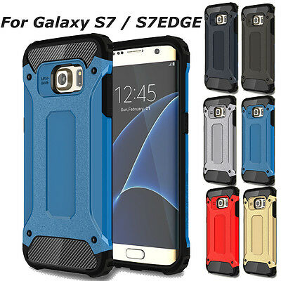 Shockproof Hybrid Rugged Rubber Case Cover For Samsung Galaxy S7 Edge -Dark Blue