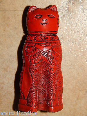 Vtg Chinese  Carved Red Cinnabar Curio Cabinet Cat Figurine