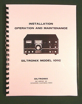 "Siltronix 1011C Operation Manual: 11"" X 17"" Foldout Schematic & Plastic Covers!"