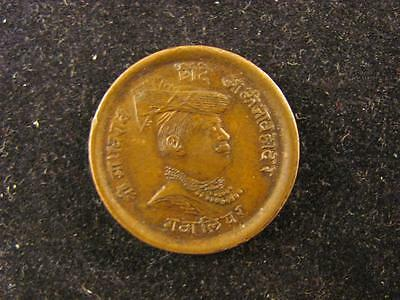 India Gwalior 1913 1/4 Anna Copper AU/BU (420)