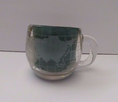 Vintage 1970 Nestle Nescafe Frosted Globe Coffee Cup Clear Glass World Tea Cup