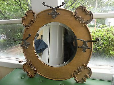 Vintage Wood Wall Hanging Hat Coat Rack With Mirror & Hooks