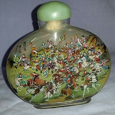 Huge Antique Signed Reverse Painted Snuff Bottle Chinese Rebellion Horses & Warr